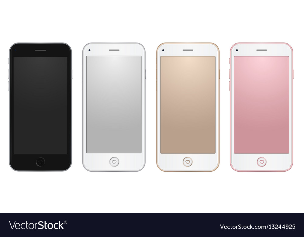 Colored common mobile templates with empty vector image