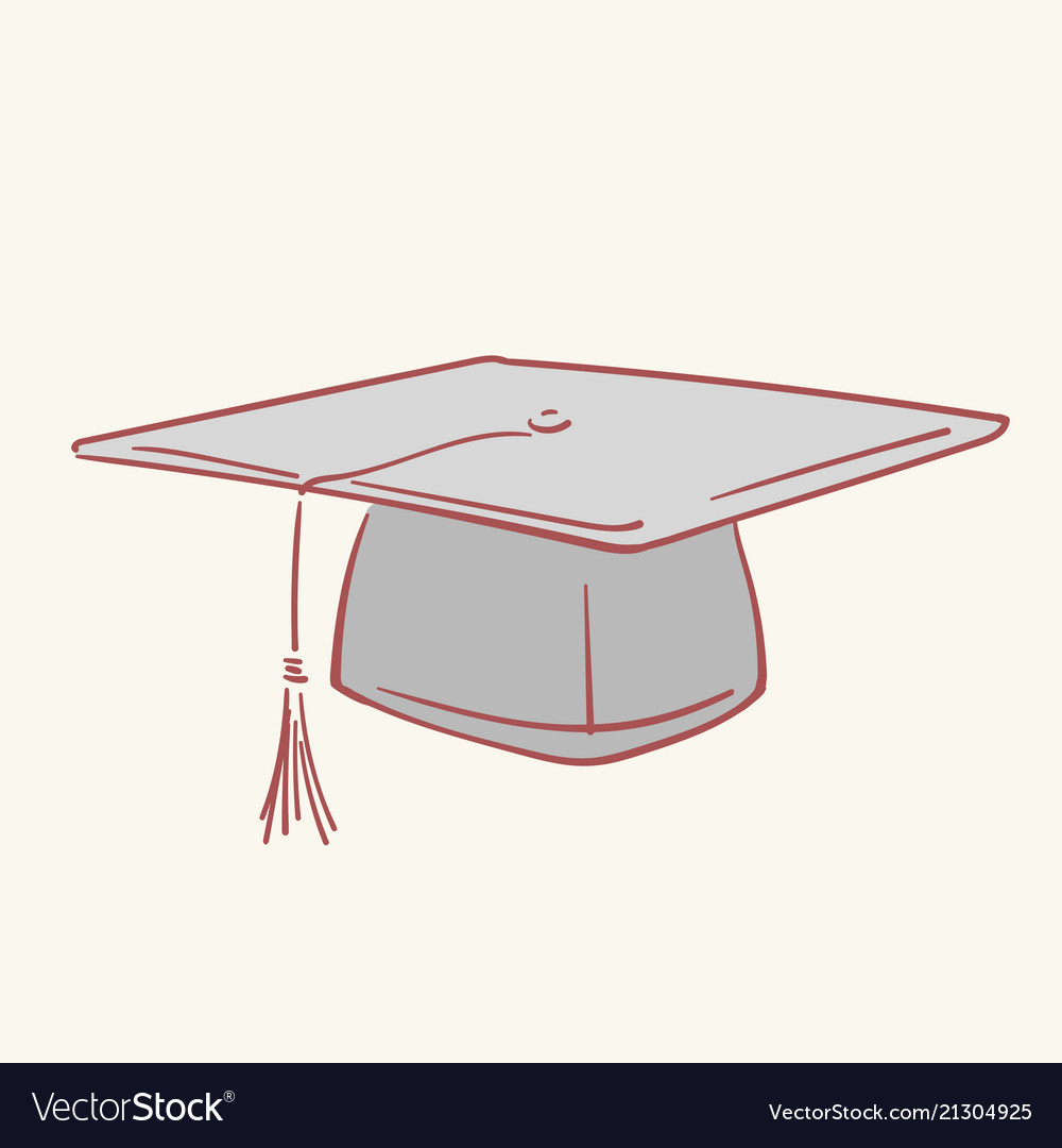 Graduation academic caphand drawn style