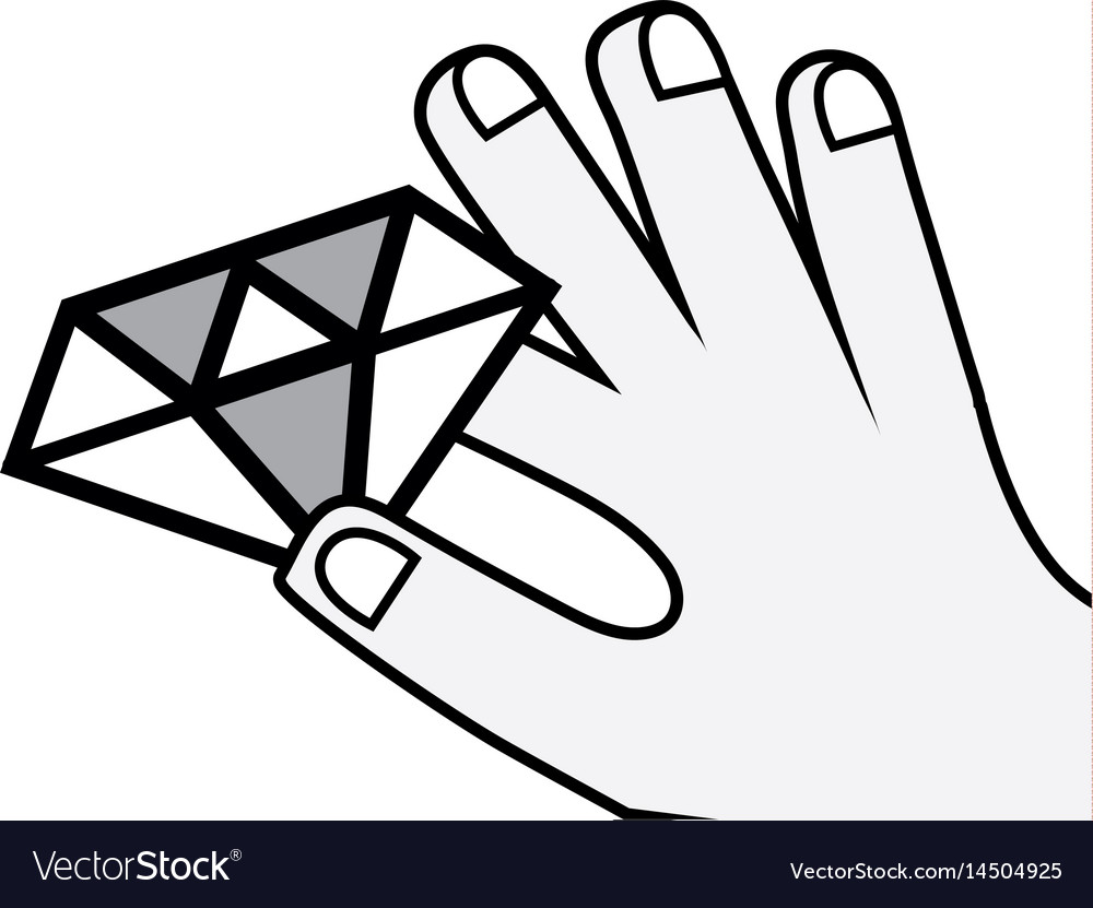 Luxury diamond cristal gem in the hand vector image
