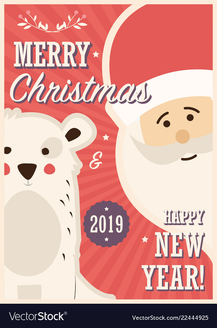 Merry christmas card with santa claus and white