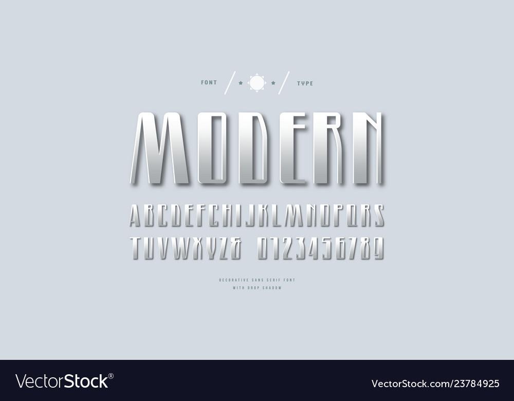 Metal chrome narrow sans serif font
