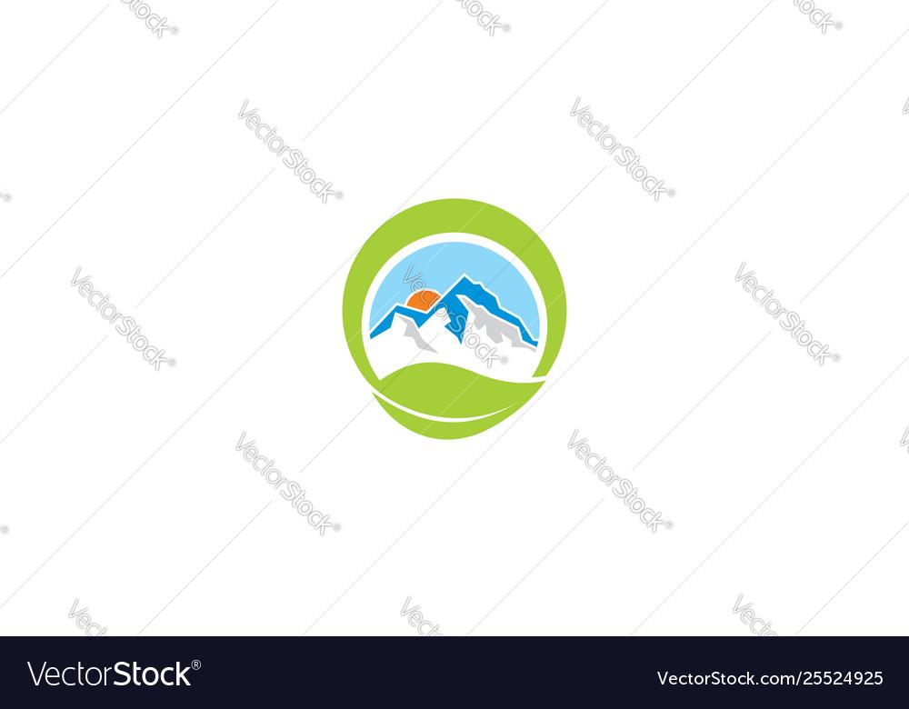 Mountain and plants logo icon