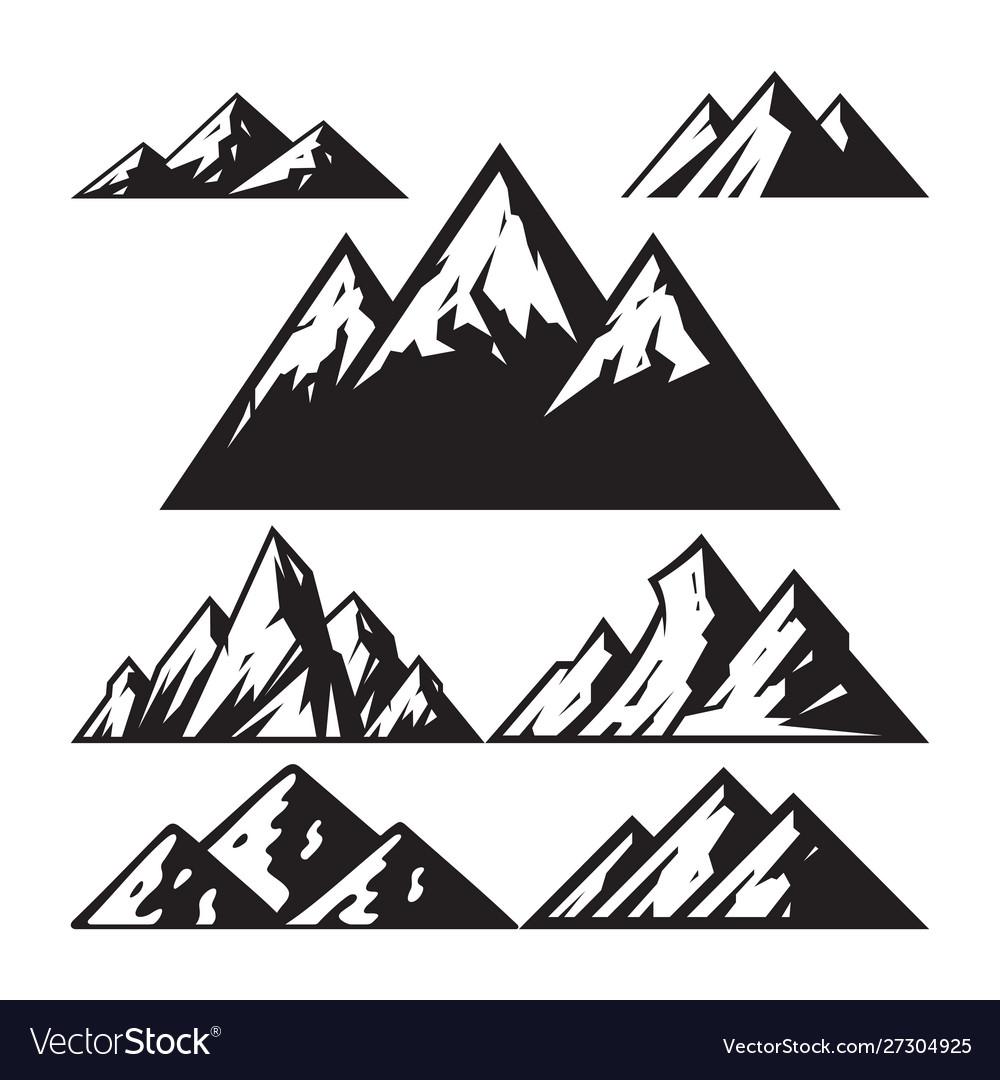Mountain sign - icons set