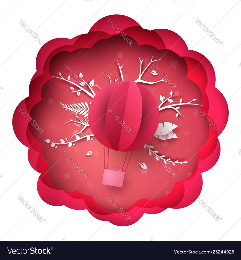Pink paper landscape air balloon