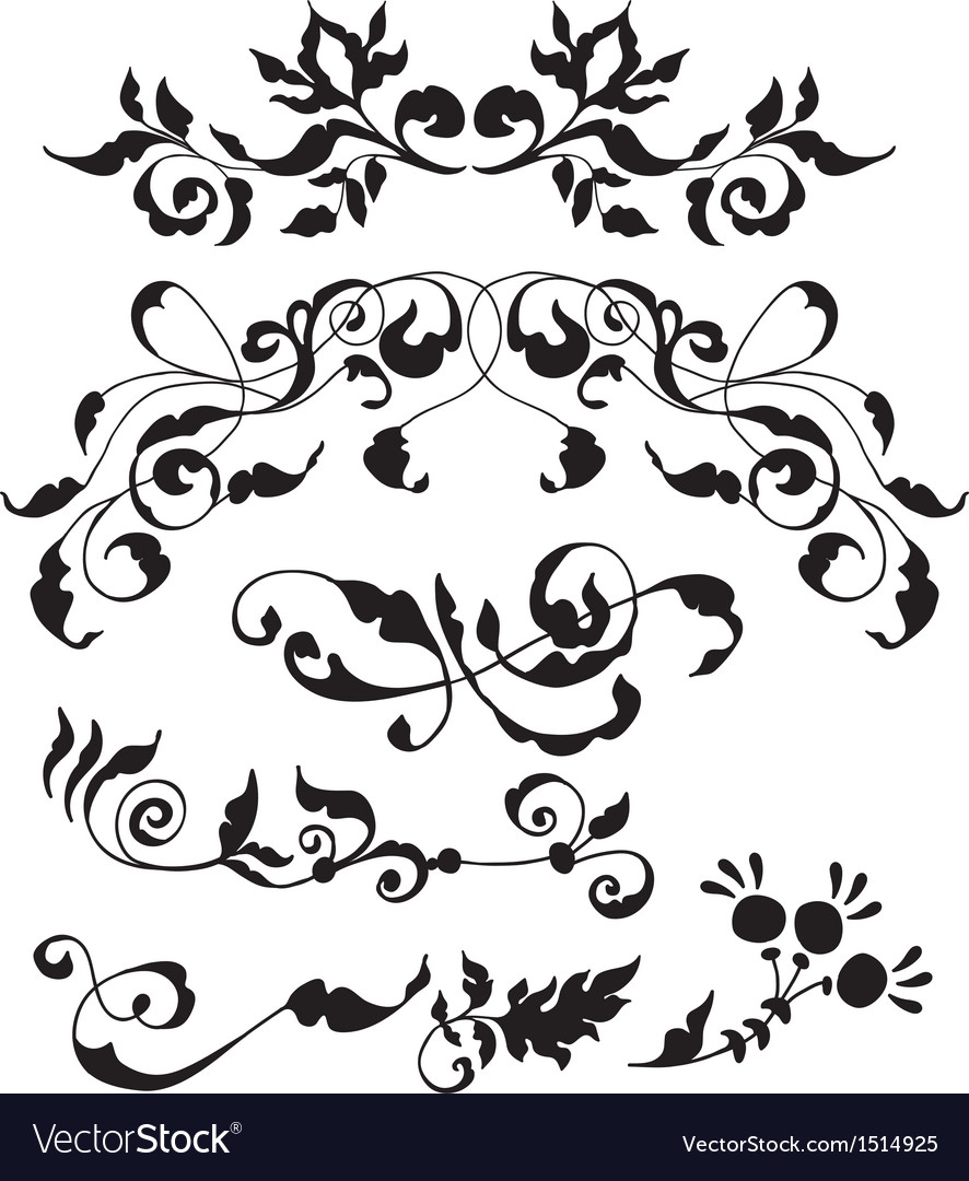 set of decorative floral elements royalty free vector image