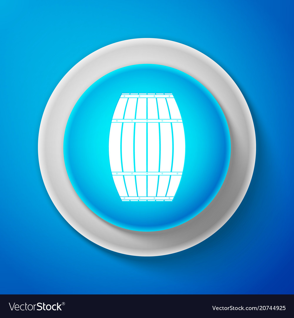 Wooden barrel icon isolated on blue background