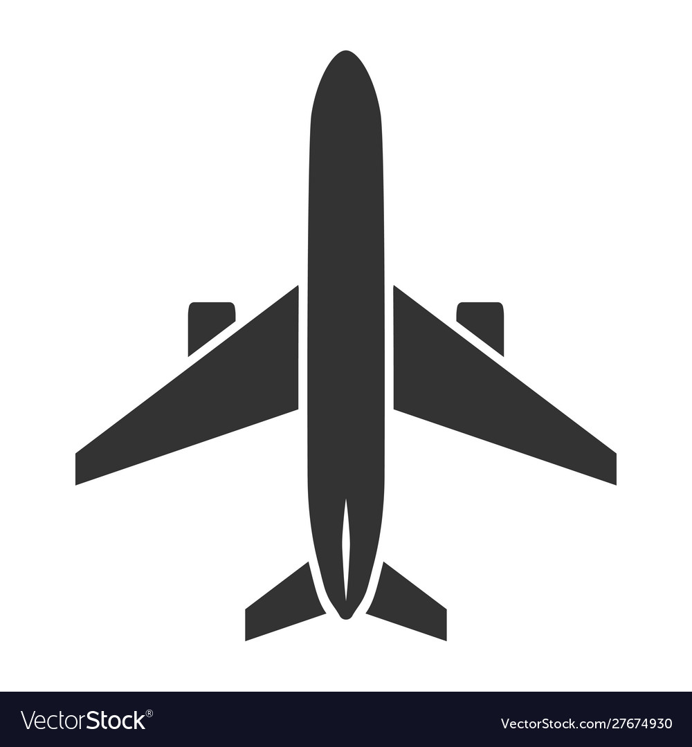 Airplane black icon flight and transport symbol