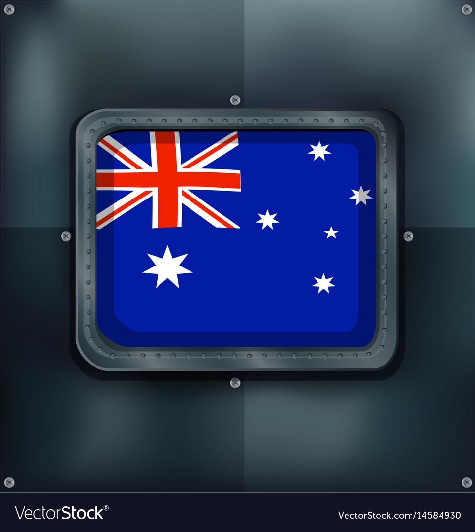 Australia flag on metalic background