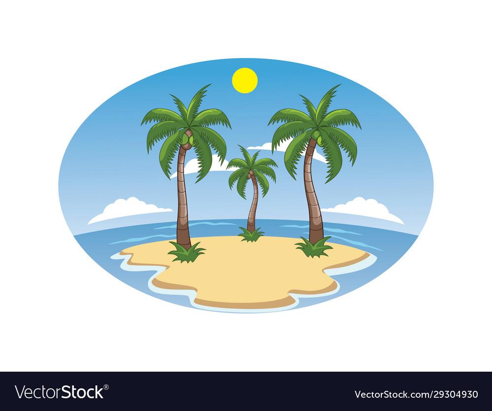 Beach Island Cartoon Royalty Free Vector Image