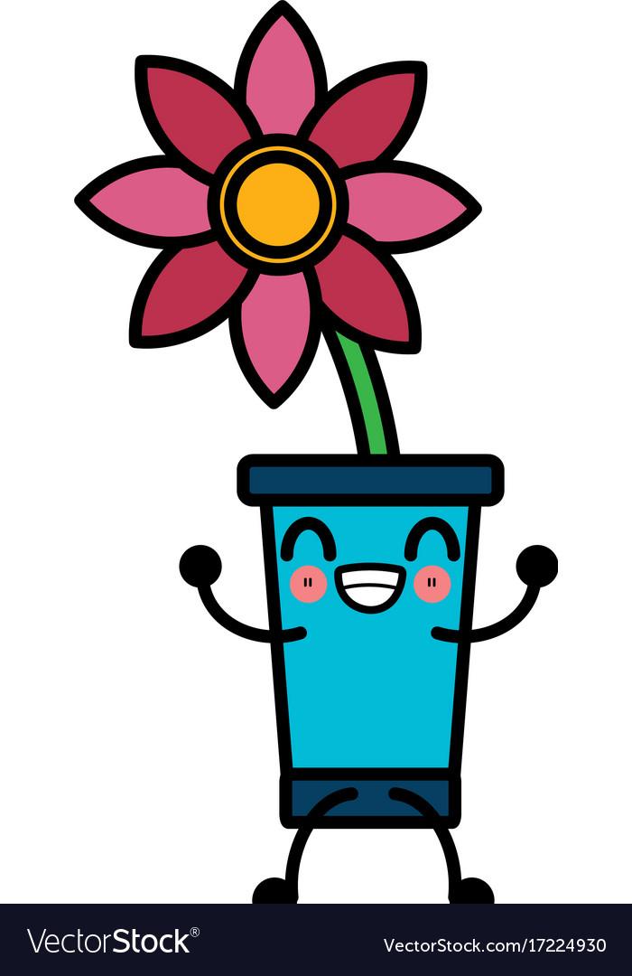 Beautiful flower symbol cute kawaii cartoon