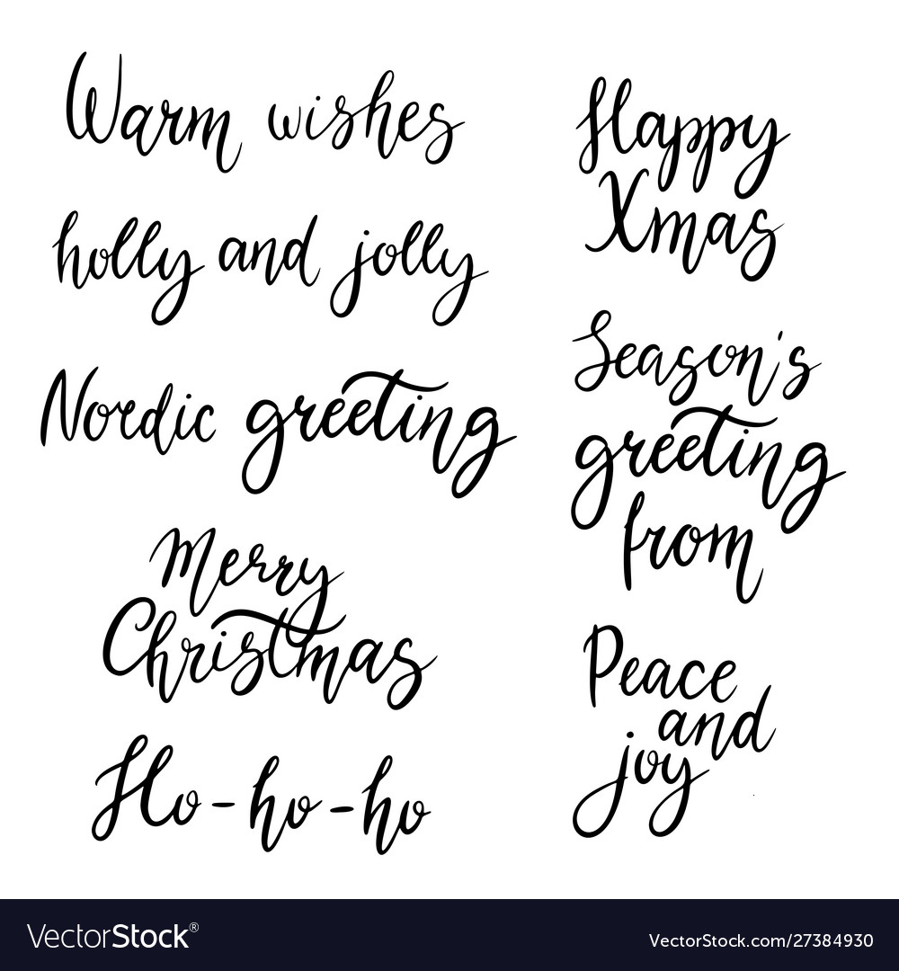 Christmas calligraphy phrases hand drawn design