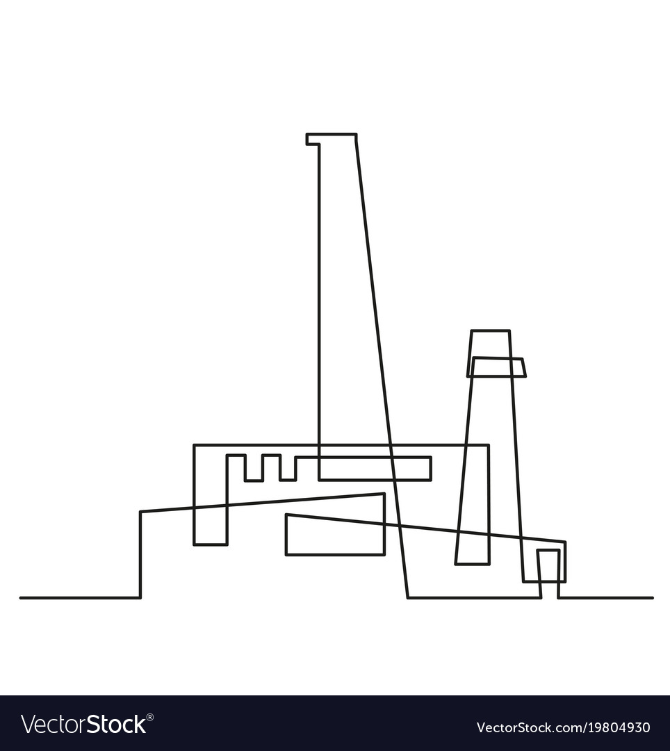 Continuous line drawing modern building