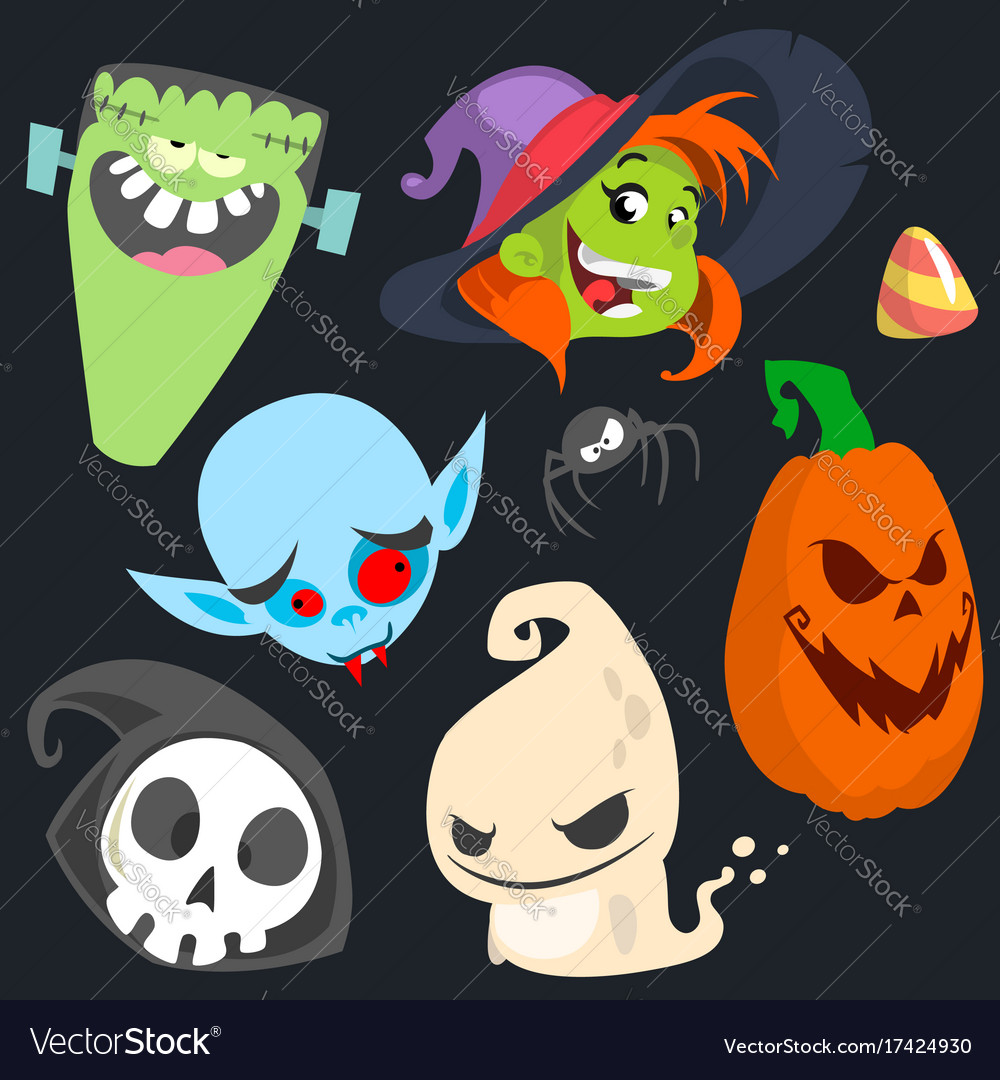Cute cartoon halloween characters icon set
