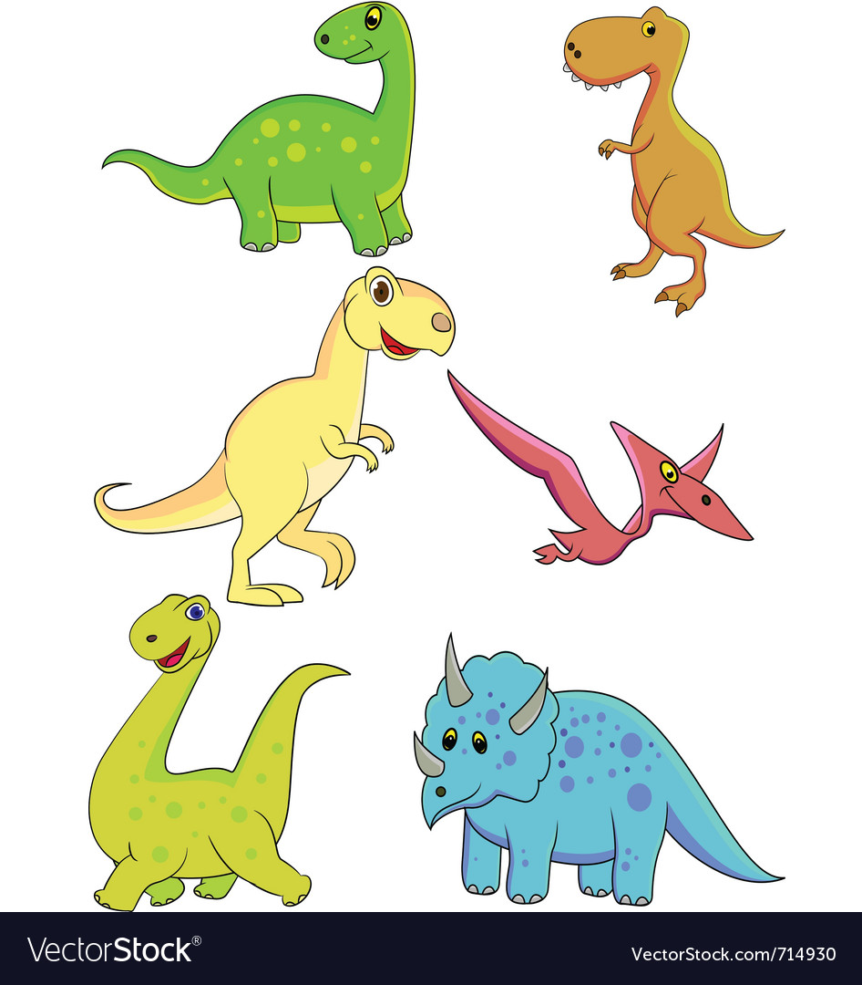 Cartoon Hand Painted Cute Dinosaurs Cartoon Animals Hand Dinosaurs