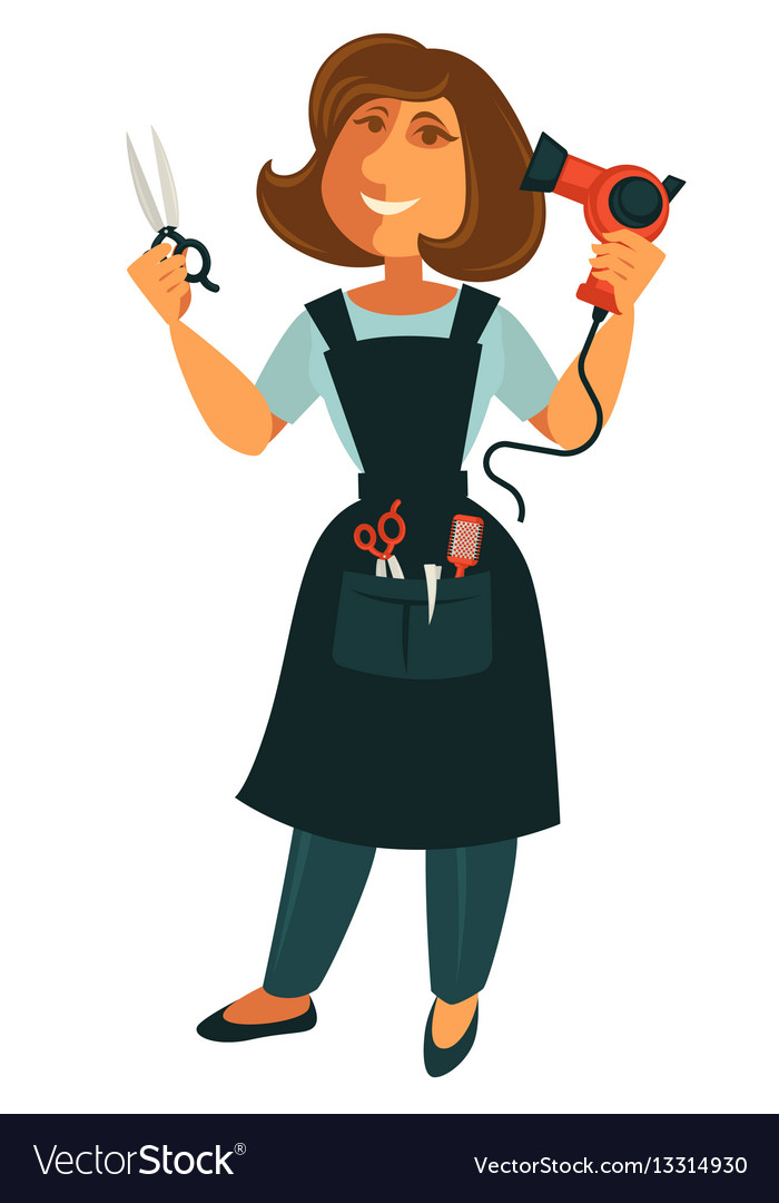 Female hairdresser with scissors and blow dryer