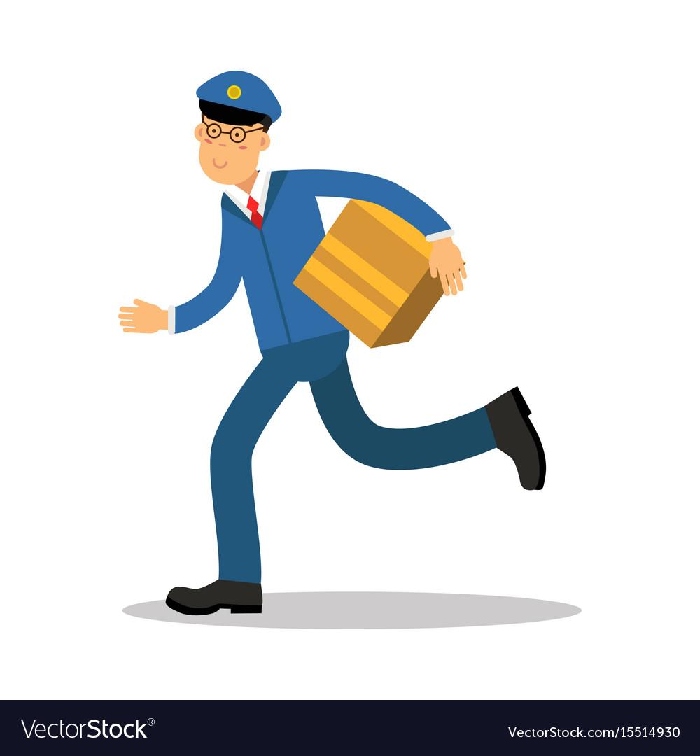 Postman in blue uniform running delivering parcel