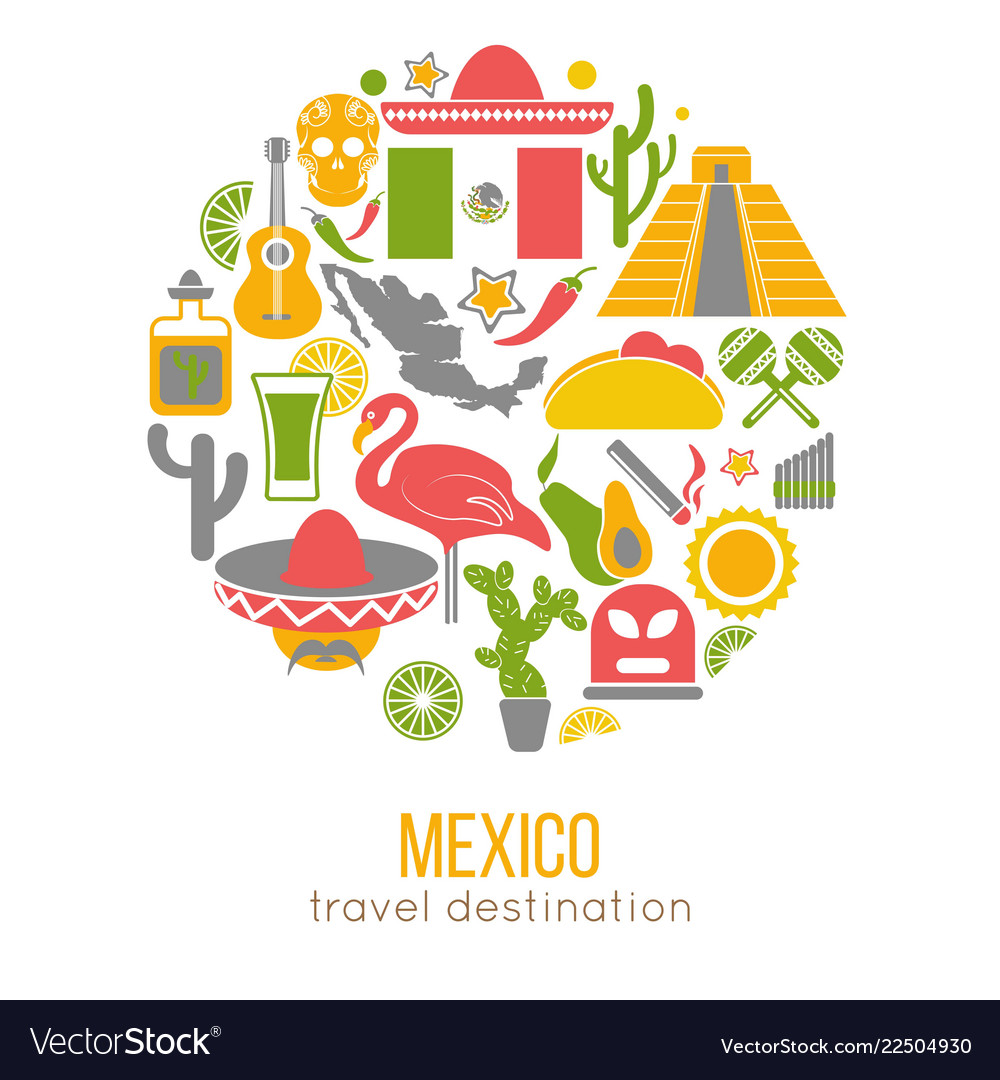 Set of mexico travel symbols mexican flat