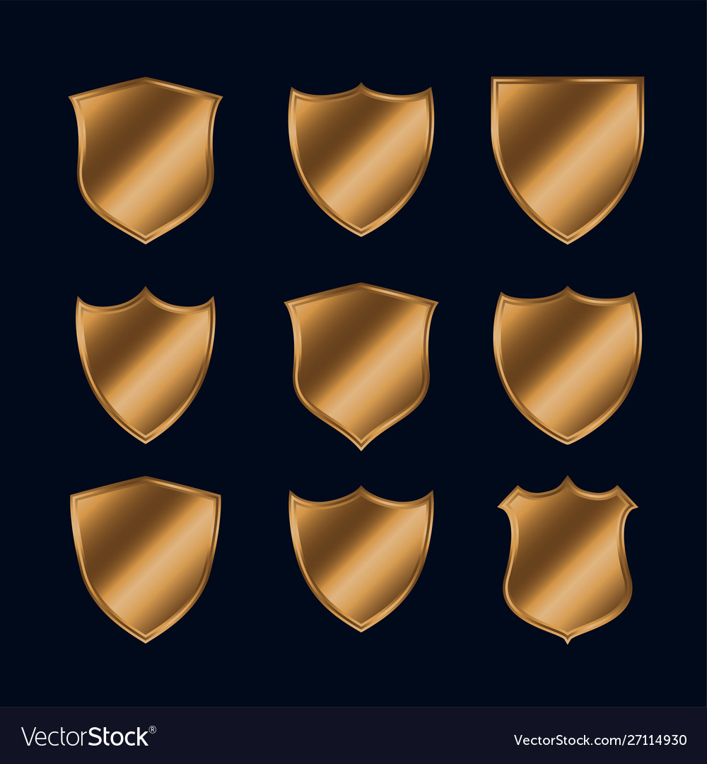 Set shiny gold police shield icons