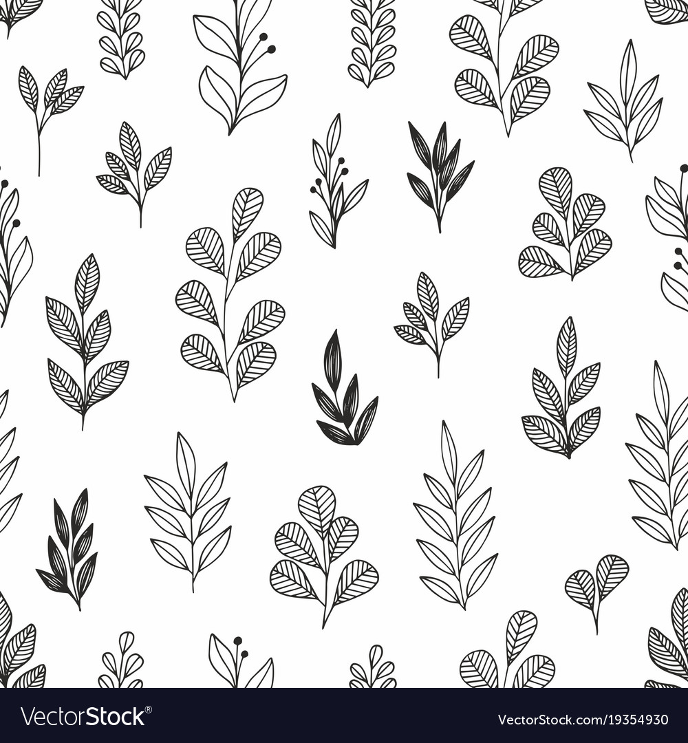 Stylized flowers and branches linear seamless