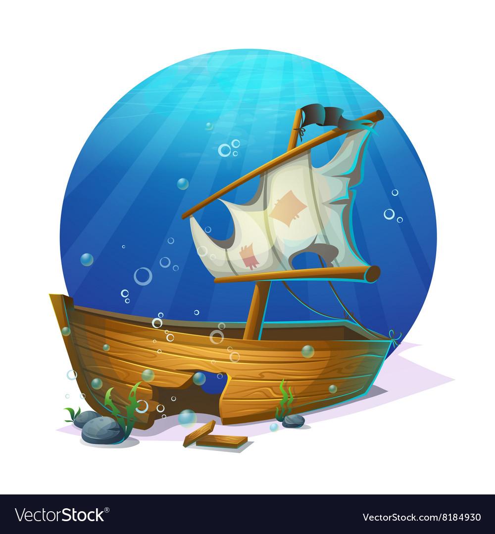 Sunken pirate schooner on sandy bottom of ocean