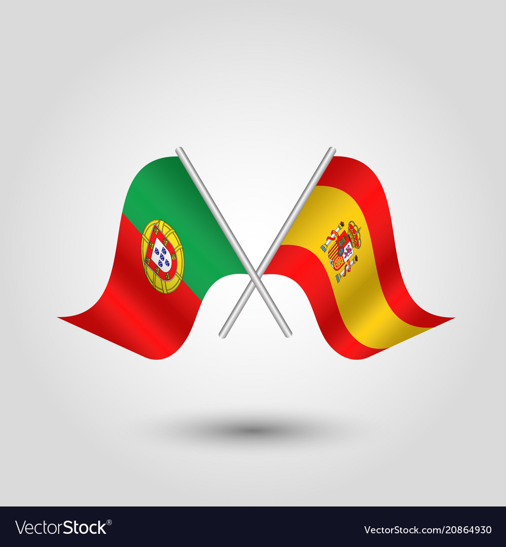 two crossed portuguese and spanish flags vector image