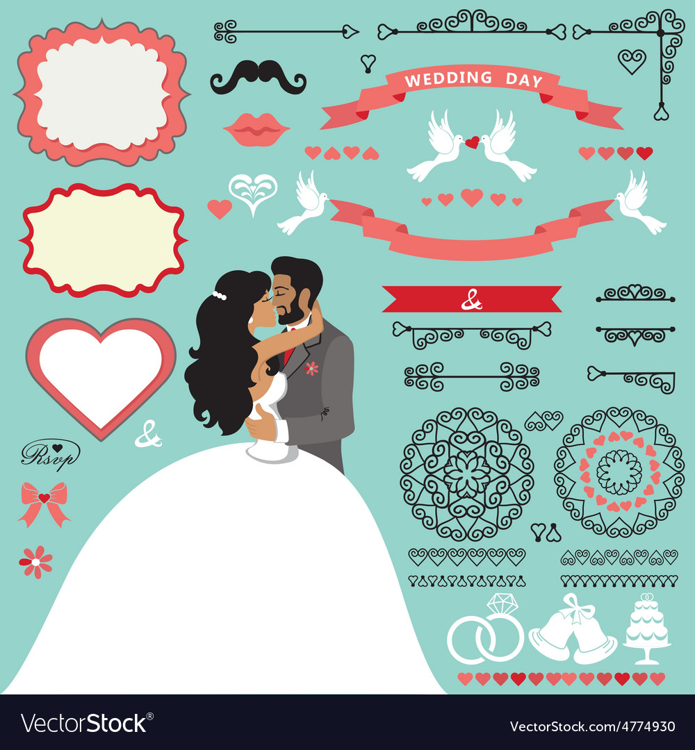Wedding invitation decor set with kissing couple
