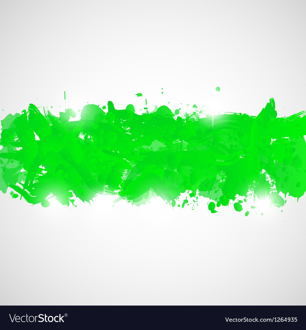 Abstract background with green paint splashes vector image
