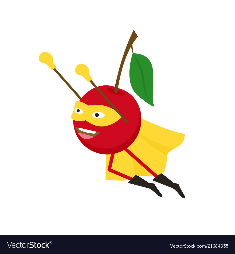 Cartoon superhero character cherry flat design