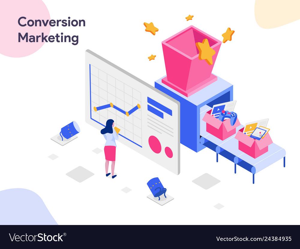 Conversion marketing isometric modern flat