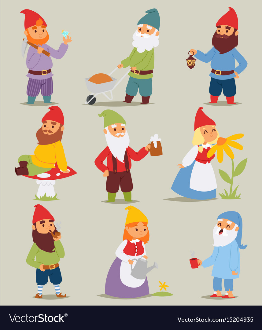 Gnome garden set funny little characters cute