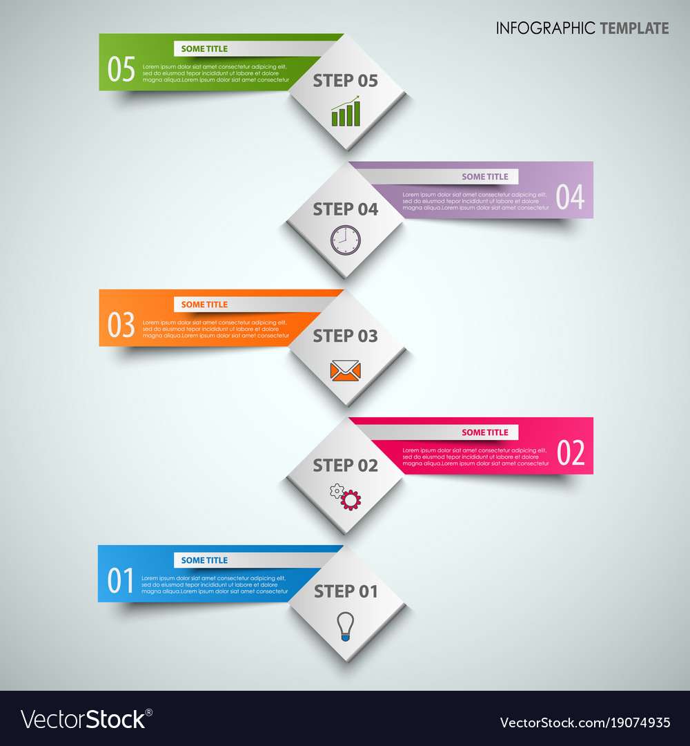 Info graphic with abstract cubes and color labels vector image