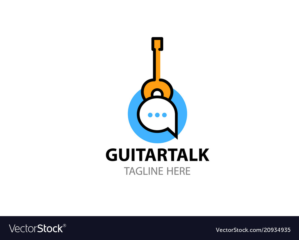 Logo template for social network about guitar