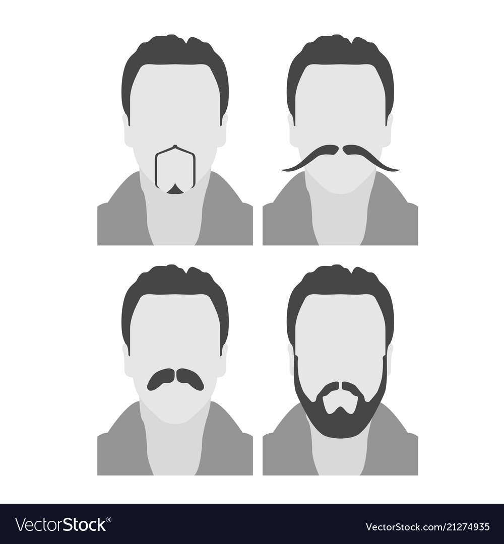 Enjoyable Men Avatars With Beard And Moustache Face Style Vector Image Natural Hairstyles Runnerswayorg