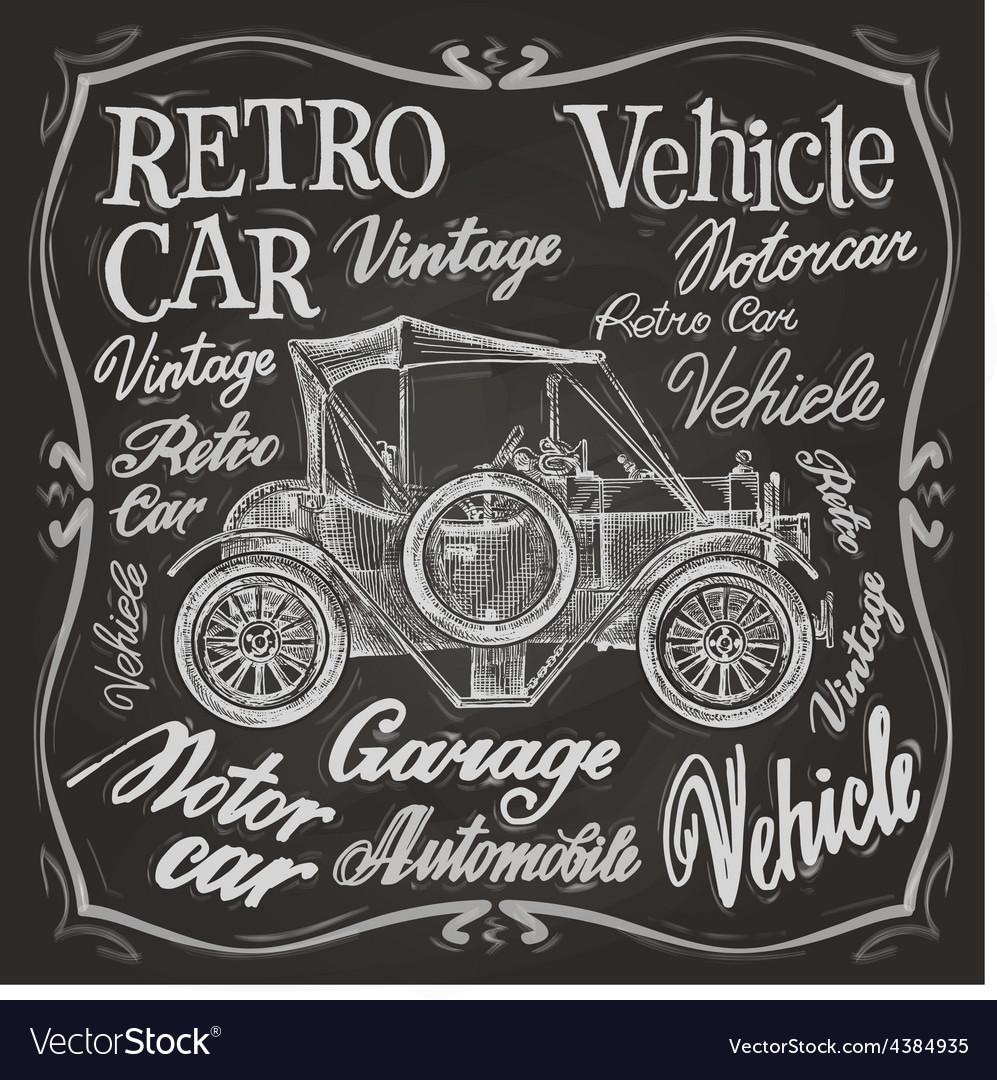 Retro car logo design template vehicle vector image