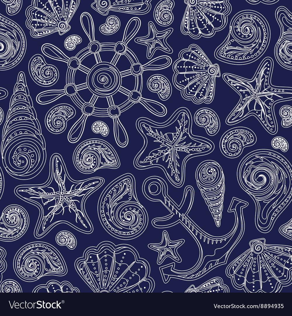 Sea shells monochrome seamless pattern