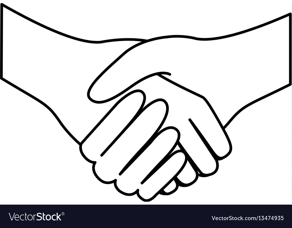 Sketch silhouette handshake agreement icon flat