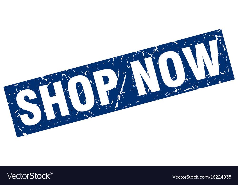 Square grunge blue shop now stamp