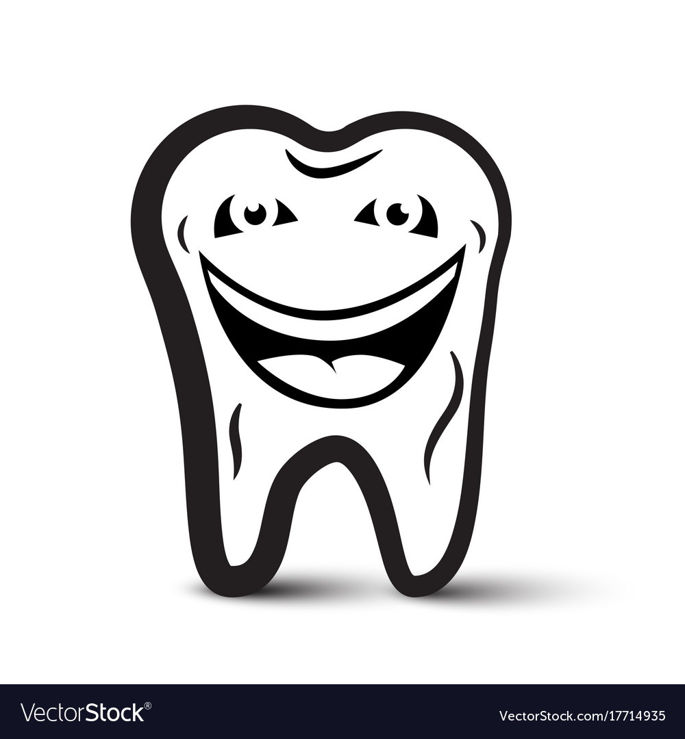 Tooth cartoon black and white icon