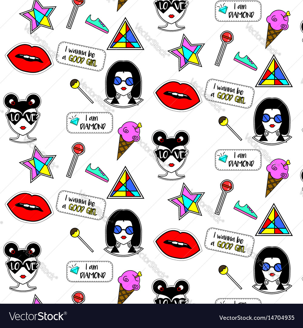 Trendy fashionable pattern with girls faces