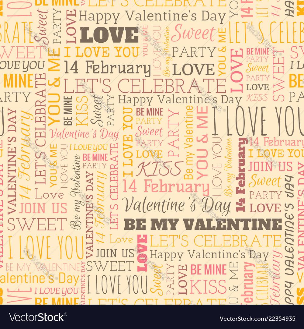 Valentines day word seamless pattern