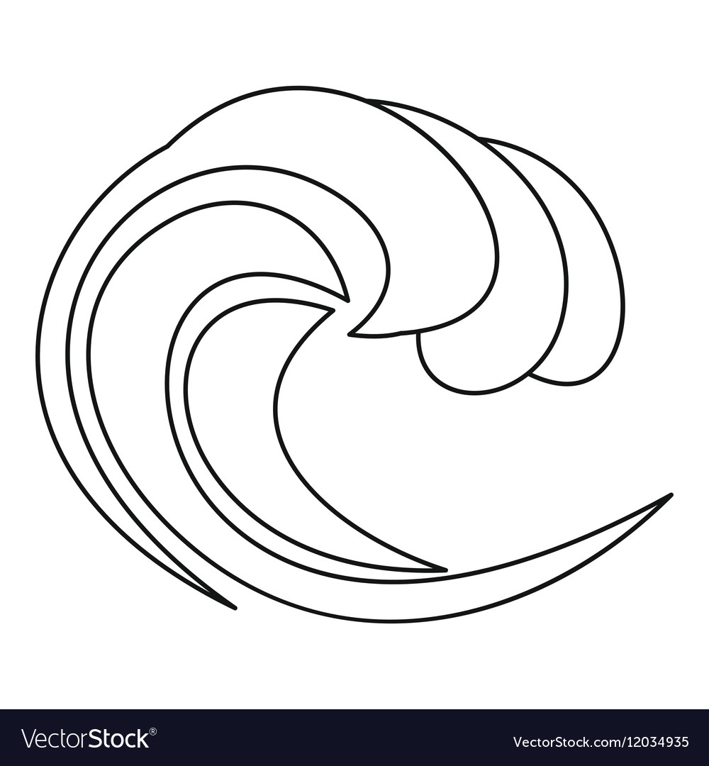 Water wave icon outline style