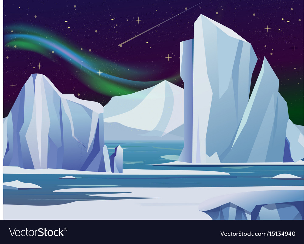 Arctic night landscape with