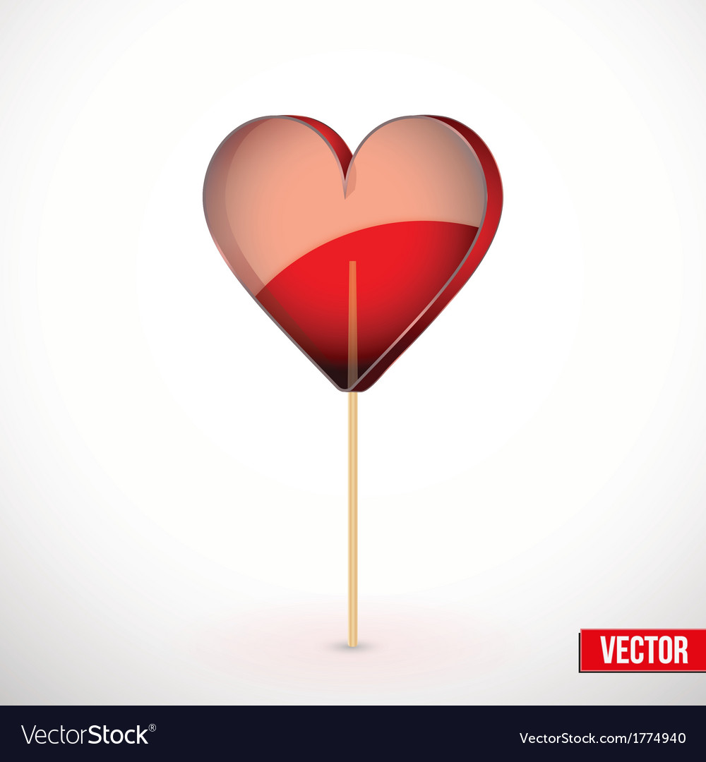 Beautiful lollipop with heart shaped Love vector image
