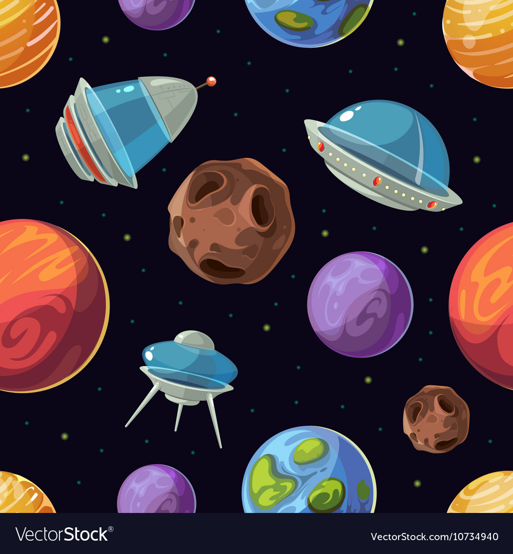 Cartoon space with planets spaceships ufo
