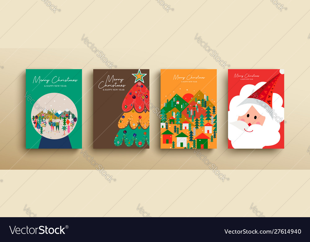 Christmas and new year cute scandinavian card set