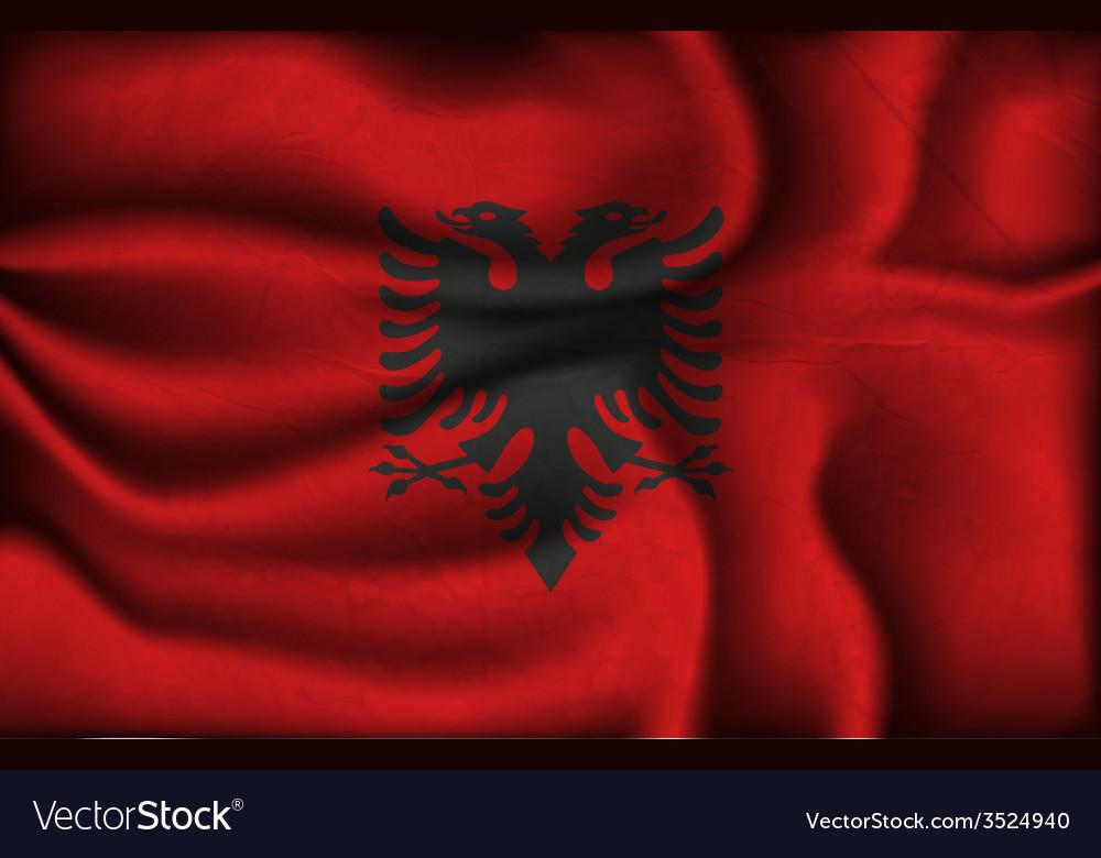 Crumpled flag of Albania