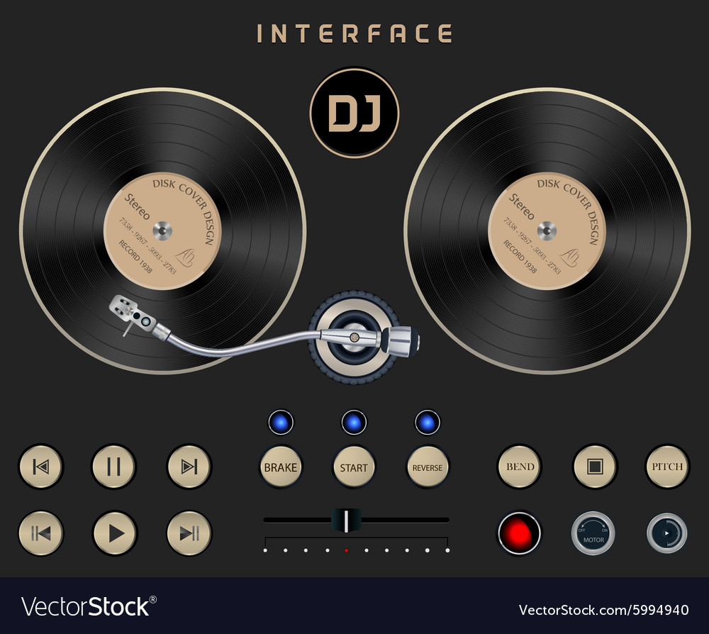 DJ Template Turntable Royalty Free Vector Image