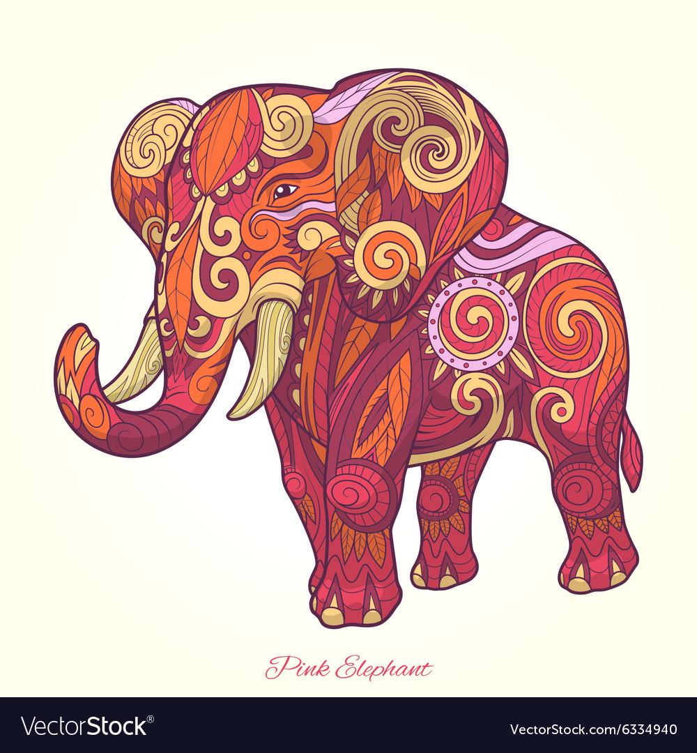 Elephant pink ornament ethnic