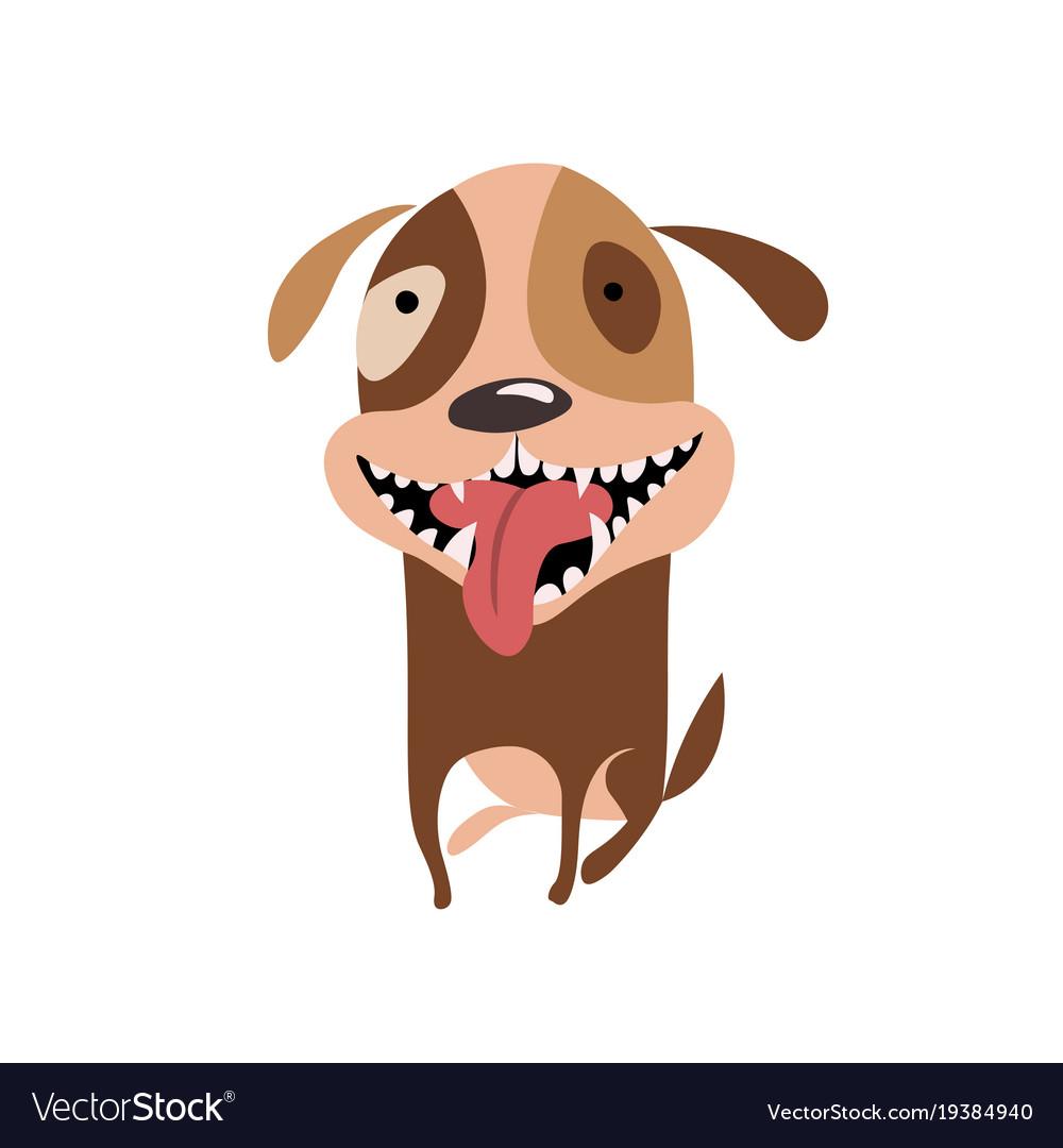 Funny smiling puppy icon happy cartoon dog