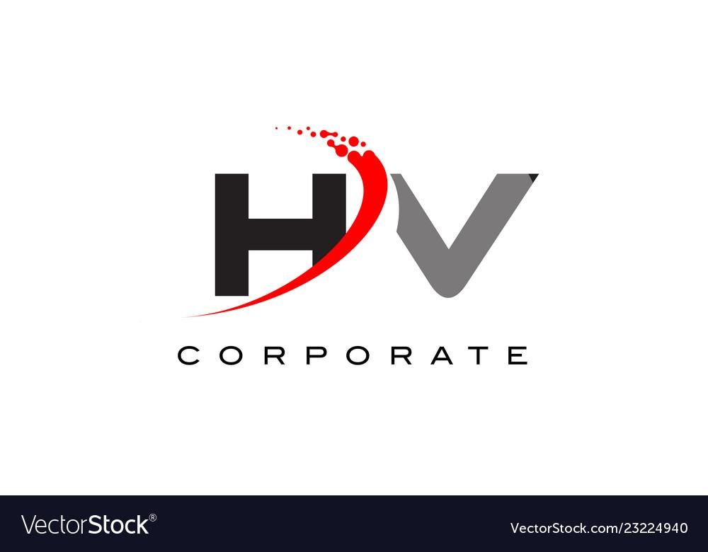 Hv Modern Letter Logo Design With Swoosh Vector Image